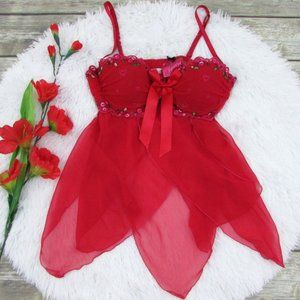 VS Cherry Embroidery Chiffon Babydoll Size 36C